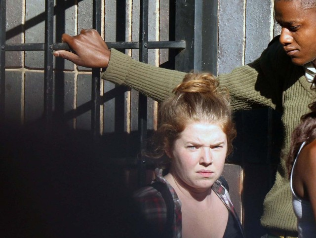 U.S. citizen Martha O'Donovan is led into a remand truck outside court in Harare, Zimbabwe November 4, 2017. REUTERS/Philimon Bulawayo
