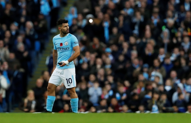 "Soccer Football - Premier League - Manchester City vs Arsenal - Etihad Stadium, Manchester, Britain - November 5, 2017   Manchester City's Sergio Aguero walks off to be substituted   Action Images via Reuters/Lee Smith  EDITORIAL USE ONLY. No use with unauthorized audio, video, data, fixture lists, club/league logos or ""live"" services. Online in-match use limited to 75 images, no video emulation. No use in betting, games or single club/league/player publications. Please contact your account representative for further details."