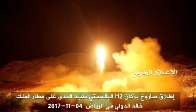 A still image taken from a video distributed by Yemen's pro-Houthi Al Masirah television station on November 5, 2017, shows what it says was the launch by Houthi forces of a ballistic missile aimed at Riyadh's King Khaled Airport on Saturday, Houthi Military Media Unit via REUTERS TV TPX IMAGES OF THE DAY