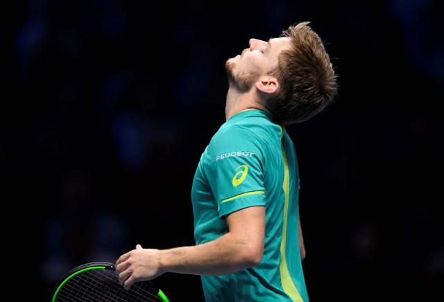Tennis - ATP World Tour Finals - The O2 Arena, London, Britain - November 18, 2017 Belgium's David Goffin reacts during his semi final match against Switzerland's Roger Federer Action Images via Reuters/Tony O'Brien
