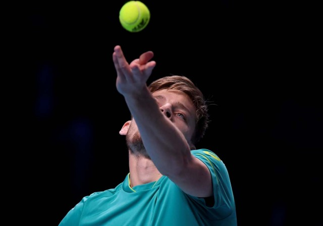 Tennis - ATP World Tour Finals - The O2 Arena, London, Britain - November 18, 2017 Belgium's David Goffin in action during his semi final match against Switzerland's Roger Federer REUTERS/Toby Melville TPX IMAGES OF THE DAY