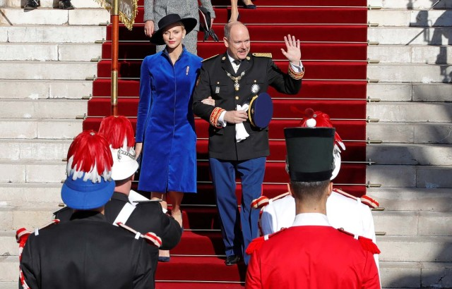 Prince Albert II of Monaco and his wife Princess Charlene leave Monaco's Cathedral during the celebrations marking Monaco's National Day, November 19, 2017. REUTERS/Eric Gaillard
