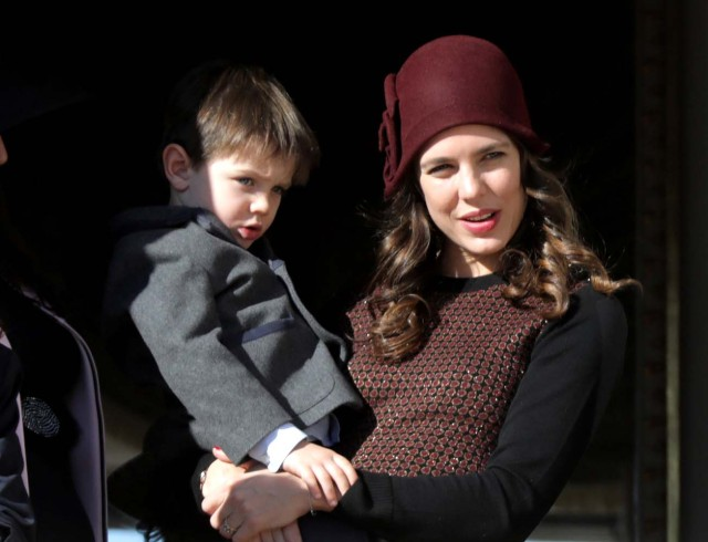Charlotte Casiraghi, Princess Caroline of Hanover's daughter, holds her son Raphael during the celebrations marking Monaco's National Day in Monaco, November 19, 2017. REUTERS/Eric Gaillard