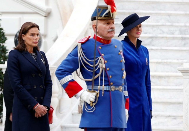 Princess Stephanie of Monaco and Princess Charlene attend the celebrations marking Monaco's National Day at the Monaco Palace, in Monaco, November 19, 2017. REUTERS/Sebastien Nogier/Pool