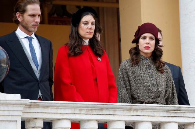 Andrea Casiraghi, his wife Tatiana and Charlotte Casiraghi attend the celebrations marking Monaco's National Day at the Monaco Palace, in Monaco, November 19, 2017. REUTERS/Sebastien Nogier/Pool