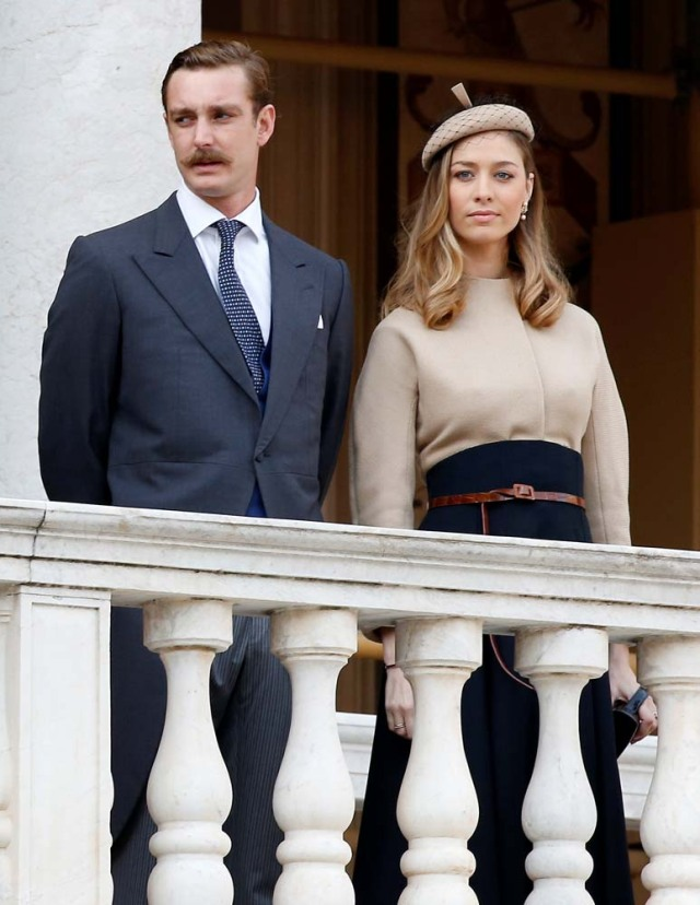 Pierre Casiraghi and his wife Beatrice attend the celebrations marking Monaco's National Day at the Monaco Palace, in Monaco, November 19, 2017. REUTERS/Sebastien Nogier/Pool