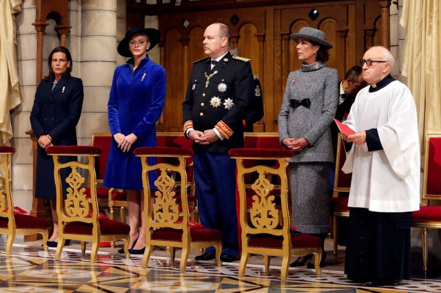 (L to R) Princess Stephanie of Monaco, Princess Charlene of Monaco, Prince Albert II of Monaco and Princess Caroline of Hanover attend a mass at the Saint Nicholas Cathedral during the celebrations marking Monaco's National Day in Monaco, November 19, 2017. REUTERS/Eric Gaillard