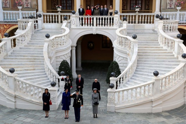 Prince Albert II of Monaco and members of his family attend the celebrations marking Monaco's National Day at the Monaco Palace, in Monaco, November 19, 2017. REUTERS/Valery Hache/Pool