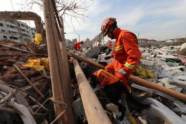 Un trabajador de rescate trabaja con un perro de rescate en el lugar de una explosión en Ningbo, provincia de Zhejiang, China, 26 de noviembre de 2017. REUTERS / Stringer EDITORES DE ATENCIÓN: ESTA IMAGEN FUE PROPORCIONADA POR UN TERCERO. CHINA FUERA.