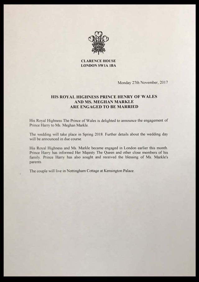The official statement letter released by Britain's Prince Charles announcing the engagement of his son Prince Harry to Meghan Markle is pictured in London, Britain November 27, 2017. REUTERS/Simon Walker