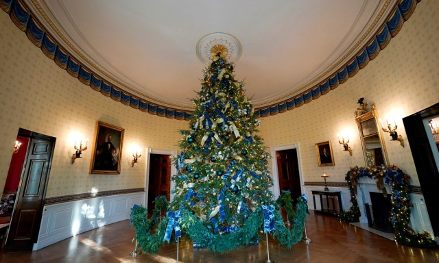 The official White House Christmas tree adorns the Blue Room of the White House in Washington, U.S., November 27, 2017.  REUTERS/Kevin Lamarque