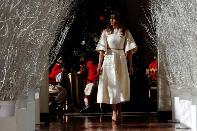 U.S. First Lady Melania Trump tours the holiday decorations with reporters at the White House in Washington, U.S., November 27, 2017.  REUTERS/Jonathan Ernst
