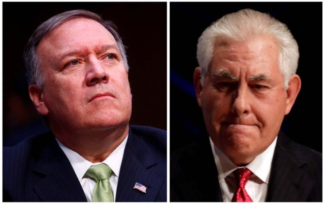 A combination photo of Central Intelligence Agency Director Mike Pompeo (L) on May 11, 2017 and U.S. Secretary of State Rex Tillerson in Washington, U.S., November 28, 2017. REUTERS/Eric Thayer/Yuri Gripas/File Photos