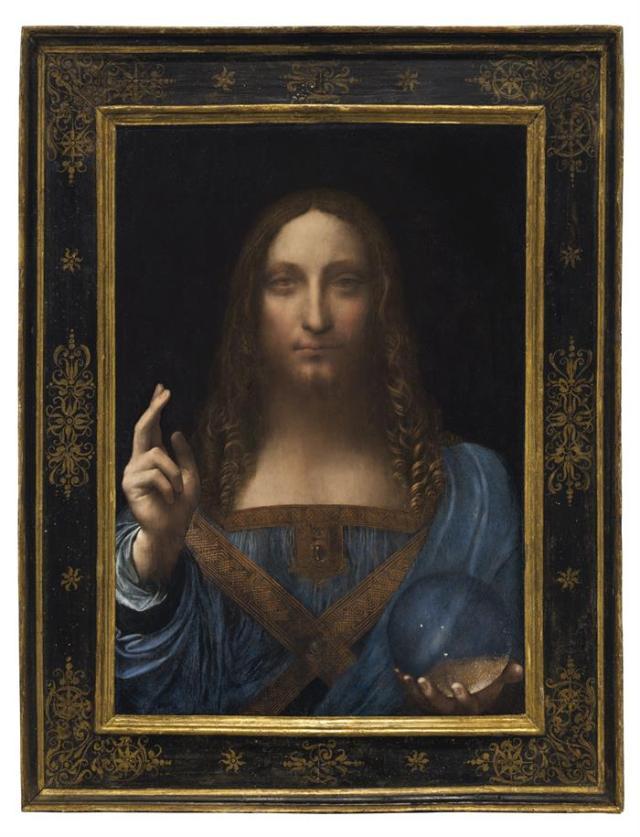 """Fotografía cedida que muestra la obra """"Salvator Mundi"""" del artista Leonardo da Vinci (1500), que subastará la casa Christie's hoy, miércoles 15 de noviembre de 2017, por un precio estimado de unos 100 millones de dólares, en Nueva York (EE.UU.). """"Salvator Mundi"""" es la única obra del polímata florentino que queda en manos privadas. EFE/Christie's/SOLO USO EDITORIAL/NO VENTAS"""