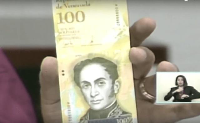 Billete de 100 mil Bs. Captura video cadena nacional