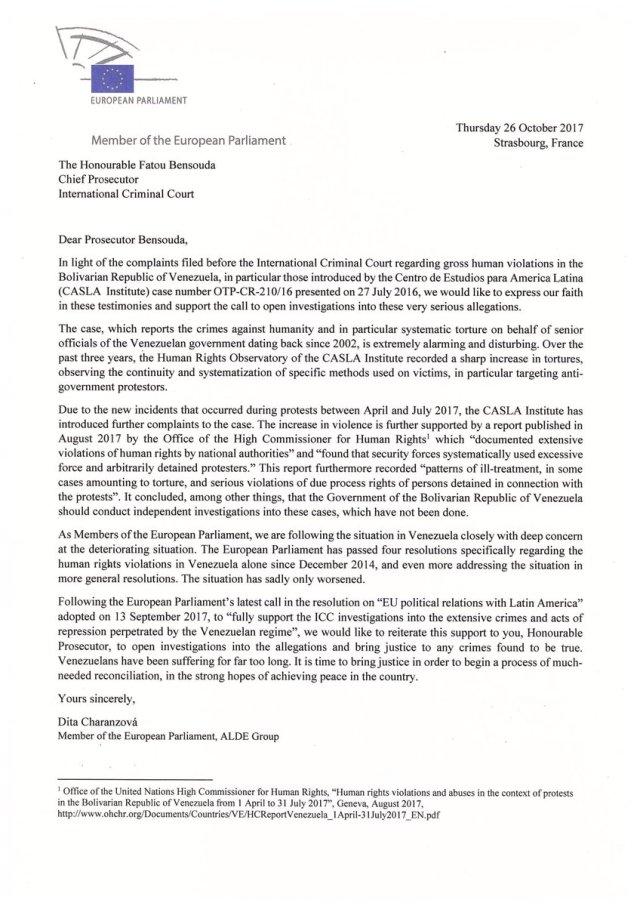 carta eurodiputados