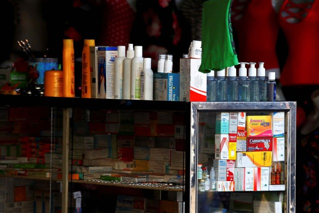 Medicines are displayed on sale in a stall at Las Pulgas market in Maracaibo, Venezuela December 5, 2017. Picture taken December 5, 2017. REUTERS/Isaac Urrutia