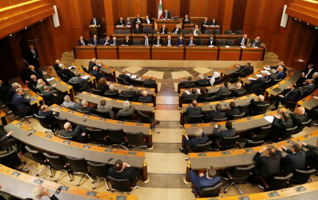 Lebanese parliament hold an extraordinary session to discuss the Jerusalem issue at downtown Beirut, Lebanon December 8, 2017. REUTERS/Mohamed Azakir