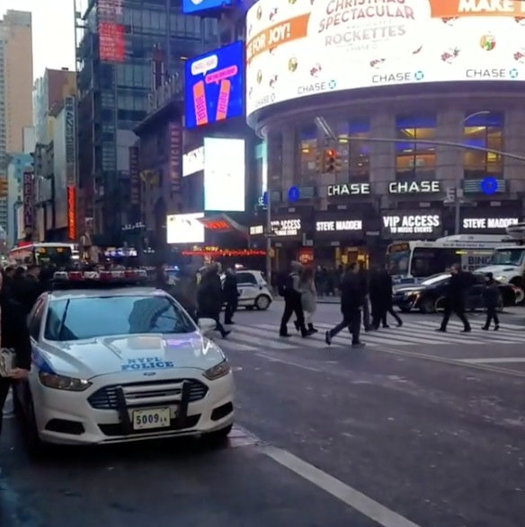 A police vehicle is seen near to the Port Authority in New York, U.S., December 11, 2017 in this still image picture obtained from social media video. Instagram/JOSEPH ZAGAMI/Handout via REUTERS ATTENTION EDITORS - THIS IMAGE WAS PROVIDED BY A THIRD PARTY. MANDATORY CREDIT. NO RESALES. NO ARCHIVE