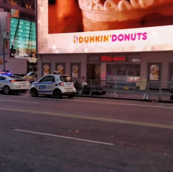 Police vehicles are seen near to the Port Authority in New York, U.S., December 11, 2017 in this still image picture obtained from social media video. Instagram/JOSEPH ZAGAMI/Handout via REUTERS ATTENTION EDITORS - THIS IMAGE WAS PROVIDED BY A THIRD PARTY. MANDATORY CREDIT. NO RESALES. NO ARCHIVE