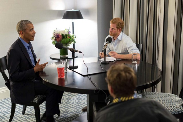 Britain's Prince Harry interviews former U.S. President Barack Obama as part of his guest editorship of BBC Radio 4's Today programme which is to be broadcast on December 27. The interview was recorded in Toronto in September during the Invictus Games. Picture issued in London, Britain, December 17, 2017. The Obama Foundation/BBC/Handout via REUTERS - ATTENTION EDITORS - THIS IMAGE WAS SUPPLIED BY A THIRD PARTY. NO RESALES. NO ARCHIVES