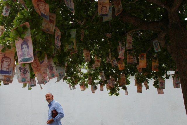 Un hombre ve en notas de Bolivar que cuelgan en un árbol en una calle en Maracaibo, Venezuela el 11 de noviembre de 2017. Imagen tomada el 11 de noviembre de 2017. REUTERS / Isaac Urrutia
