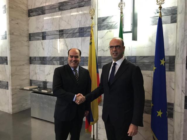 El canciller de Italia, Angelino Alfano recibió al presidente de la AN, Julio Borges