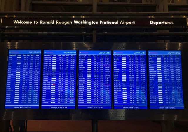A departure board at Ronald Reagan airport, near Washington, DC, posts several cancelled flights early January 4, 2018 as winter storm Grayson sets in on the East Coast. The National Weather Service said the rapidly deepening area of low pressure off Florida's east coast will move northeastward bringing snow to the southern mid-Atlantic coast and then to New England as it moves towards the Canadian Maritimes by Friday. / AFP PHOTO / Daniel SLIM