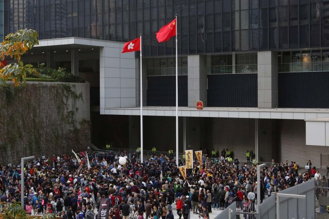 Pro-democracy protesters gather inside civic square, reopened for the first time since Occupy Central movement in 2014, at the government headquarters in Hong Kong, China January 1, 2018.      REUTERS/Bobby Yip