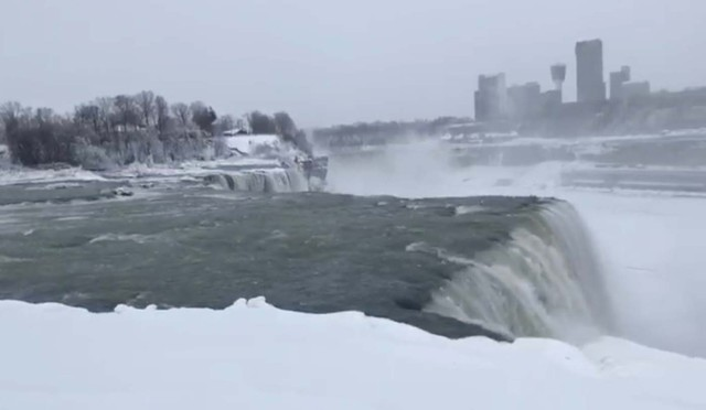 Water flows over the Niagara Falls, New York, U.S., in this still image taken from a video from January 3, 2018. COURTESY of NISAT SHIMA /via REUTERS THIS IMAGE HAS BEEN SUPPLIED BY A THIRD PARTY. MANDATORY CREDIT. NO RESALES. NO ARCHIVES