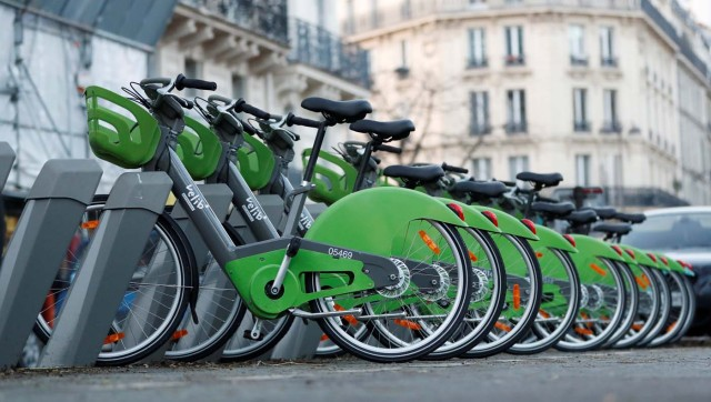 New Velib' Metropole self-service public bikes by the Smovengo are seen at a distribution point in Paris, France January 8, 2018. REUTERS/Gonzalo Fuentes