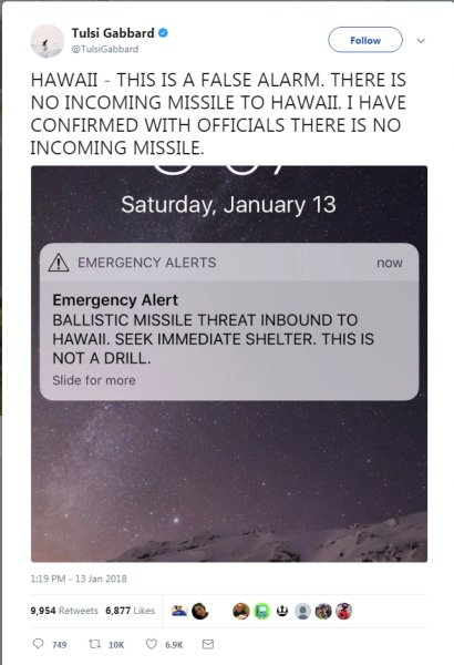 A screen capture from the Twitter account of Congresswoman Tulsi Gabbard (D-HI) shows a missile warning for Hawaii in this image taken from social media.  Tulsi Gabbard/via REUTERS  ATTENTION EDITORS - THIS IMAGE WAS PROVIDED BY A THIRD PARTY. MANDATORY CREDIT. NO RESALES. NO ARCHIVES