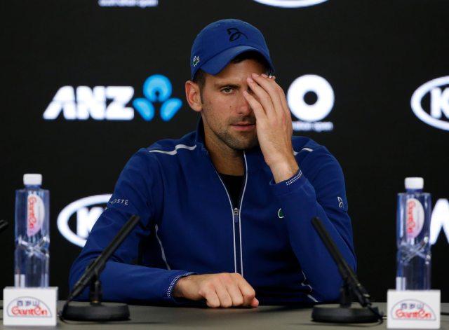 Tennis - Australian Open - Rod Laver Arena, Melbourne, Australia, January 22, 2018. Serbia's Novak Djokovic during a press conference after losing his match against South Korea's Chung Hyeon. REUTERS/Toru Hanai