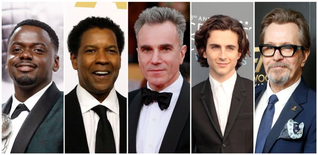 FILE PHOTO: Nominees for the 90th Oscars, Leading Actor Awards (L-R) Daniel Kaluuya, Denzel Washington, Daniel Day-Lewis, Timothee Chalamet and Gary Oldman.  REUTERS/Staff/File Photos