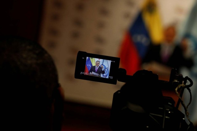 Venezuela's Chief Prosecutor Tarek William Saab is seen on the display of a video camera during a news conference in Caracas, Venezuela, January 25, 2018. REUTERS/Marco Bello