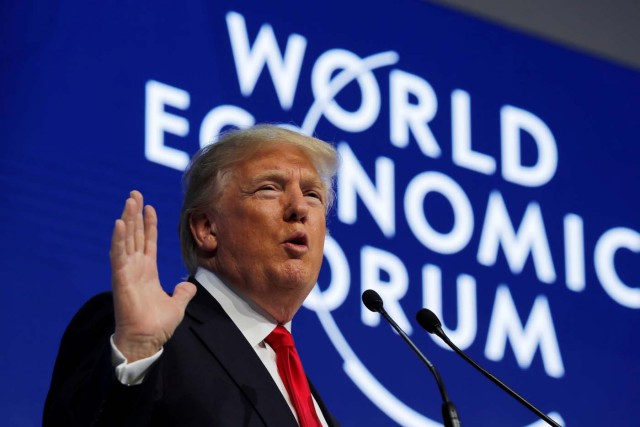 U.S. President Donald Trump speaks at the World Economic Forum (WEF) annual meeting in Davos, Switzerland January 26, 2018. REUTERS/Carlos Barria