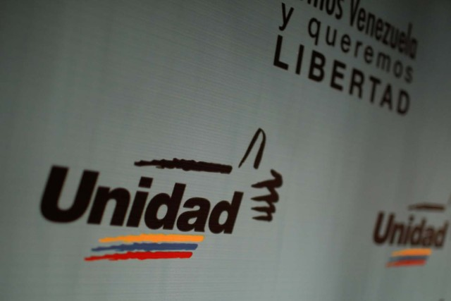 The logo of the Venezuelan coalition of opposition parties (MUD) is seen during a news conference in Caracas, Venezuela January 26, 2018. REUTERS/Marco Bello