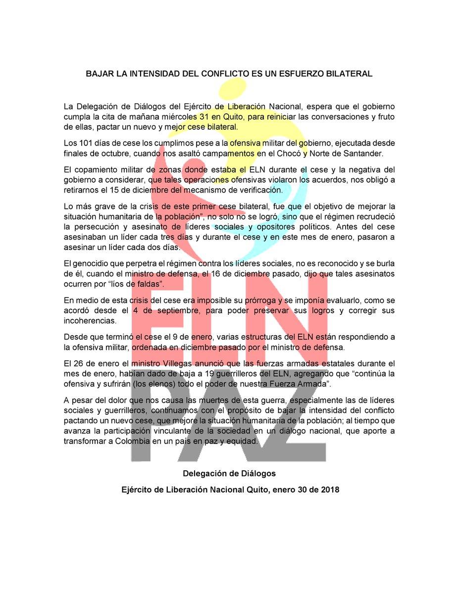 d7dc61d94 ELN dispuesto a pactar alto al fuego en Colombia tras suspensión de  diálogos - LaPatilla.com