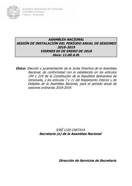 Orden del Día AN 5 de enero 2018