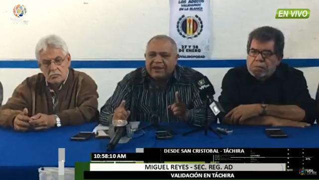 Foto: Miguel Reyes, Secretario General Regional de Acción Democrática por el estado Táchira / VPI