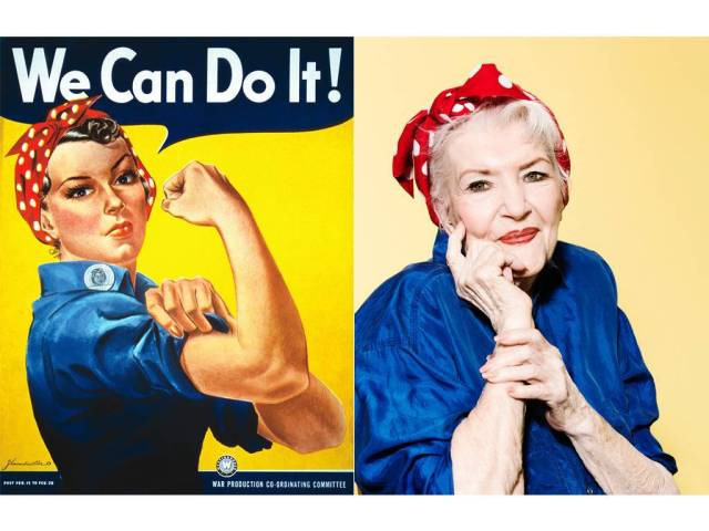 Naomi Parker Fraley, aka the real Rosie The Riveter, 94 lives with her sister Ada Wyn, 92 in Redding, CA. July 15, 2016. Credit: Ramona Rosales Hair & makeup: Mili Simon/Zenobia Stylist: Katia Echivard/Zenobia RETOUCHED HIGH RES