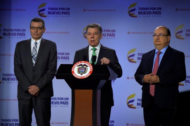 El presidente de Colombia, Juan Manuel Santos durante su alocución (Foto presidencia de Colombia)