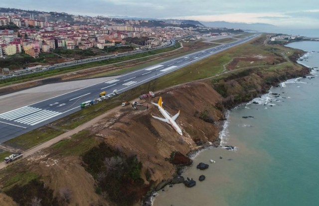 A Pegasus Airlines Boeing 737 passenger plane is seen struck in mud on an embankment, a day after skidding off the airstrip, after landing at Trabzon's airport on the Black Sea coast on January 14, 2018. A passenger plane late on January 13 skidded off the runway just metres away from the sea as it landed at Trabzon's airport in northern Turkey. The Pegasus Airlines flight, with 168 people on board, had taken off from Ankara on its way to the northern province of Trabzon. No casualties were reported. / AFP PHOTO / IHLAS NEWS AGENCY / STRINGER / Turkey OUT