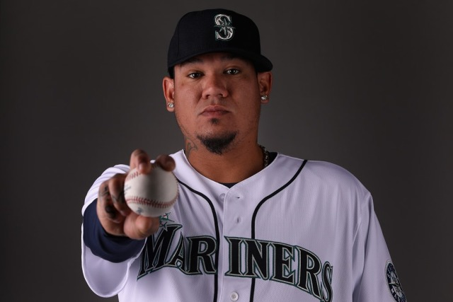 PEORIA, AZ - FEBRUARY 21: Pitcher Felix Hernandez #34 of the Seattle Mariners poses for a portrait during photo day at Peoria Stadium on February 21, 2018 in Peoria, Arizona. Christian Petersen/Getty Images/AFP