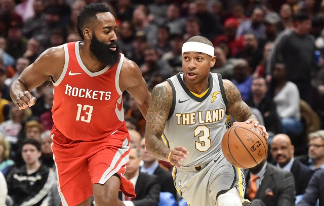 Feb 3, 2018; Cleveland, OH, USA; Cleveland Cavaliers guard Isaiah Thomas (3) drives to the basket against Houston Rockets guard James Harden (13) during the second half at Quicken Loans Arena. Mandatory Credit: Ken Blaze-USA TODAY Sports