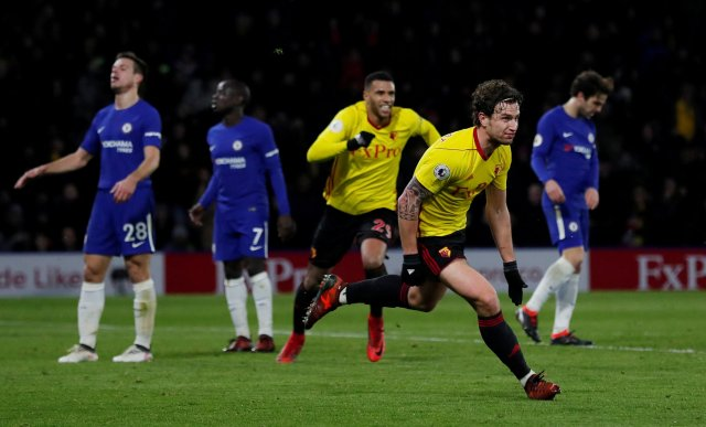 "Soccer Football - Premier League - Watford vs Chelsea - Vicarage Road, Watford, Britain - February 5, 2018   Watford's Daryl Janmaat celebrates scoring their second goal                      Action Images via Reuters/Andrew Couldridge    EDITORIAL USE ONLY. No use with unauthorized audio, video, data, fixture lists, club/league logos or ""live"" services. Online in-match use limited to 75 images, no video emulation. No use in betting, games or single club/league/player publications.  Please contact your account representative for further details.     TPX IMAGES OF THE DAY"