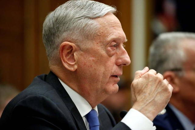 """U.S. Defense Secretary Jim Mattis testifies to the House Armed Services Committee on """"The National Defense Strategy and the Nuclear Posture Review"""" on Capitol Hill in Washington, U.S., February 6, 2018. REUTERS/Joshua Roberts"""