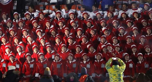 Pyeongchang 2018 Winter Olympics – Opening ceremony – Pyeongchang Olympic Stadium - Pyeongchang, South Korea – February 9, 2018 - Cheerleaders of North Korea await the start of the opening ceremony. REUTERS/Kim Kyung-Hoon
