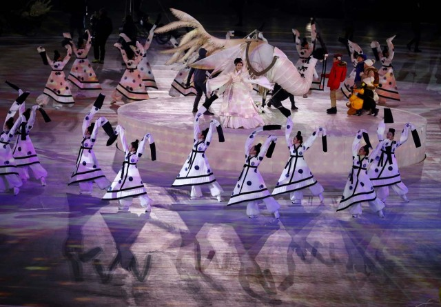 Pyeongchang 2018 Winter Olympics – Opening Ceremony – Pyeongchang Olympic Stadium- Pyeongchang, South Korea – February 9, 2018 - Performers during the opening ceremony. REUTERS/Phil Noble