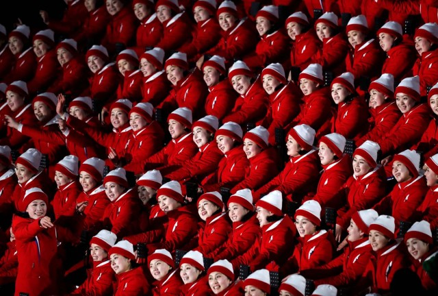 Pyeongchang 2018 Winter Olympics – Opening ceremony – Pyeongchang Olympic Stadium- Pyeongchang, South Korea – February 9, 2018 - Cheerleaders of North Korea await the start of the opening ceremony. REUTERS/Jorge Silva TPX IMAGES OF THE DAY